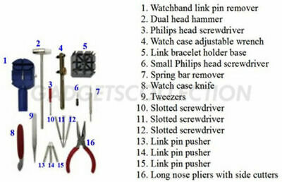 GC 16pc Watch Repair Tool Kit Band Pin Strap Link Remover Back Opener US SHIPPER 2