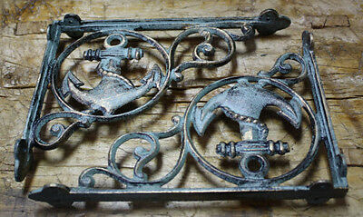 2 Cast Iron NAUTICAL ANCHOR Brackets Garden Braces Shelf Bracket PIRATES SHIP 2