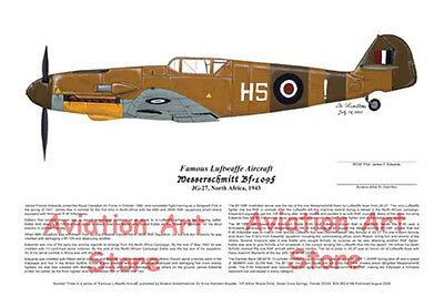 FOUR! Famous Bf-109's Signed by Pilots, Aviation Art 5