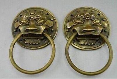 Authentic China Fengshui Brass Lion Foo Fu Dog Head Mask Statue Door knocker 3