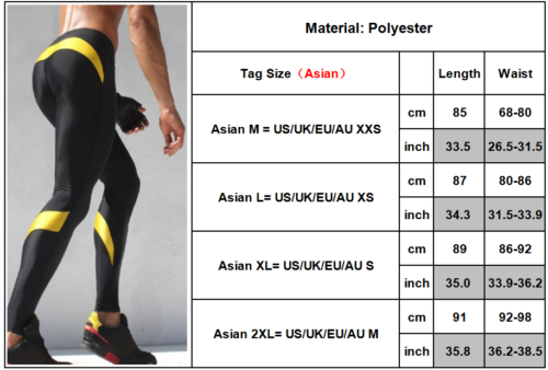Men Gym Fitness Leggings Compression Base Layer Sports Workout Skin Tight Pants 3 3 of 12 ...