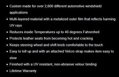 Custom Windshield Sun Shade 2019 FORD EDGE w// sensor Heat Shield Screen FD-910A