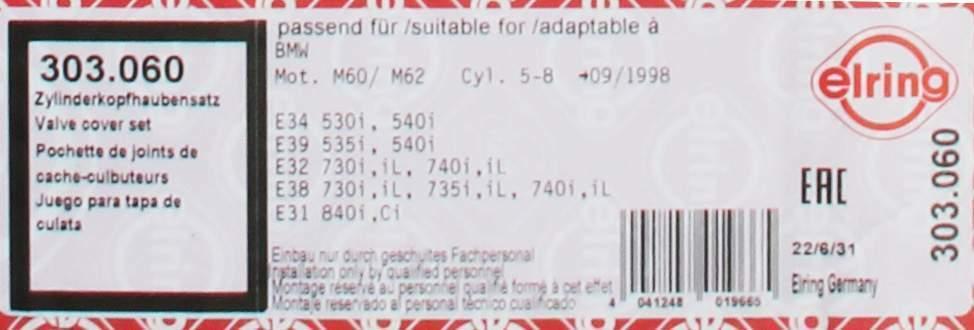 Ventildeckeldichtung Satz Zylinderkopfhaube Dichtung ELRING 303.060