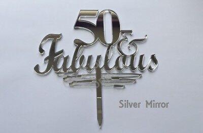 40, 50, 60 & Fabulous Cake Topper - Birthday Decoration - acrylic glitter mirror 5