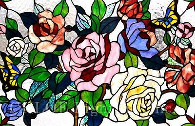 "Butterfly & Roses Floral Tiffany Style Stained Glass Window Panel 27"" x 19"" 2"