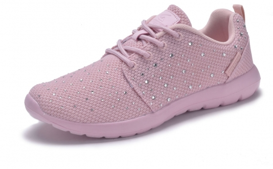 Women Sport  Lightweight Laces Mesh Sneakers Rhinestone Athletic Shoes