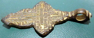 ATTRACTIVE ANTIQUE 1600-1800s. RUSSIAN ORTHODOX BRONZE CROSS  # 677 5