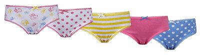 Girls 5 Pack Pairs Briefs Set Knickers Kids Multipack 100% Cotton Underwear Size 4