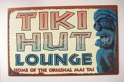 Tiki Hut Lounge Mai Tai TIN SIGN wall art coastal decor beach bar metal poster