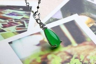 100% Natural Hand-carved Chinese green Jade Tear pendant Silver carving 2