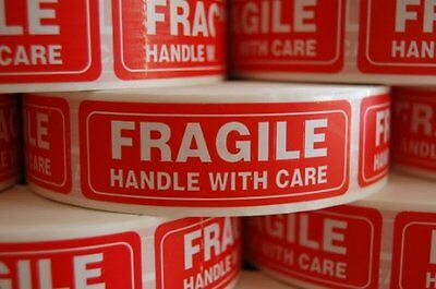 1 Roll 1000 1 x 3 FRAGILE HANDLE WITH CARE Stickers Labels, Easy Peel and Apply