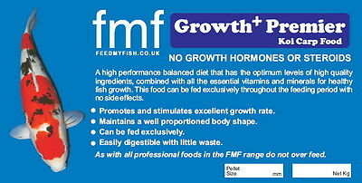 Koi Carp Pond Food FMF Growth Premier + 1kg Bucket 6mm Pellets 3