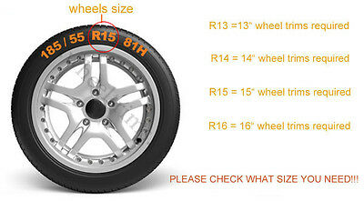 """Silver 15"""" wheel trims to fit  Vw Transp.T4,Golf,Polo,Touran,Caddy/Full set of 4"""
