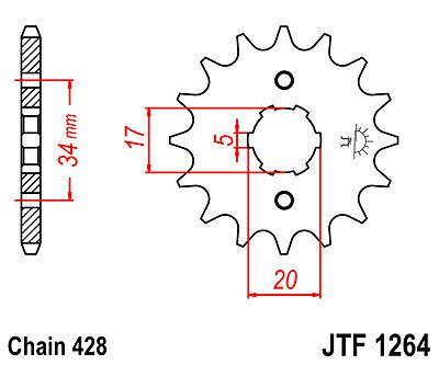 Chain and Sprocket Kit GOLD for Honda CBF125  M9,MA,MB,MC,MD 2009-14