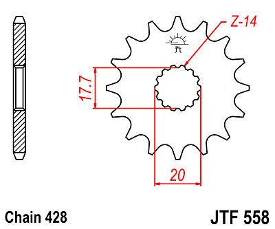 JT 17 Tooth Front Sprocket Yamaha DTR125 DT125R 1992-94 JTF55817