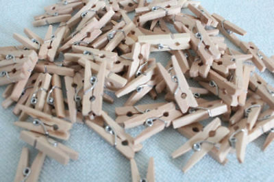 100x25mm MINI WOOD WOODEN PEGS NATURAL CRAFT WEDDING CLOTHES PIN LINE PHOTO BABY 6