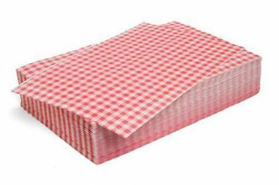 "50 x Sheets RED Gingham Duplex Paper 10""x 15"" Food Wrap Greaseproof Basket Liner 3"