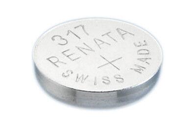 2 x Renata 317 Watch Batteries, 0% MERCURY equivalent SR516SW, Swiss Made