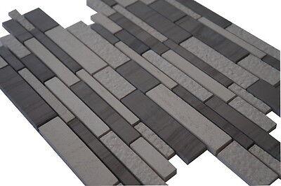 1 Von 3 Mosaik Matte Marmor Naturstein Fliesen Yawood Grau Beige Creme Weiß  Bad M038 NEU