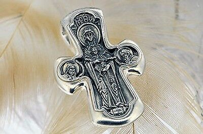 Cross Orthodox Jesus Christ & Virgin Mary # a130 Sterling Silver 925 4