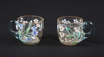 Rare 1880's New England Glass Hand-blown, Hand-painted Cordial Decanter & 2 Cups 2