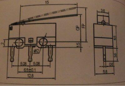 2 x Microswitch leva lunga miniatura pulsante fine corsa SPDT 1 A 125//250 V