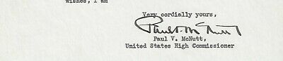 Paul V. McNutt, Governor, Diplomat, Typed Letter Signed, COA, UACC RD 036 2