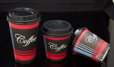 100 Pack 16 Oz. Poly Paper Disposable Hot Tea Coffee Cups with Dome Black Lids 5