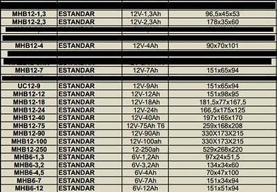 BATERIA DE PLOMO AGM UPS/SAI 6v / 12v  - de 1,3Ah-4Ah-7Ah-9Ah-12Ah hasta 250Ah 5