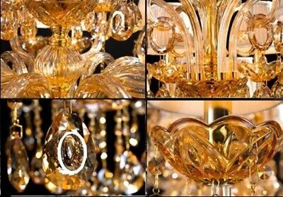 Antique Big European Italian French CHANDELIER K9 Crystal Amber Gold 15 ARM Lite 2