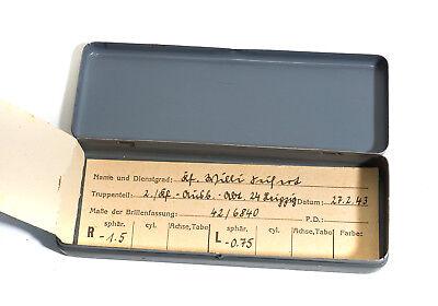 MASKENBRILLE in Blechdose Dienst-Brille von 1943 Wehrmacht, 2.WK WW2 Top Zustand