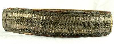 Amazing Silver & Gold Leather Ottoman Folk Handmade Belt Buckle Antique VTG 4