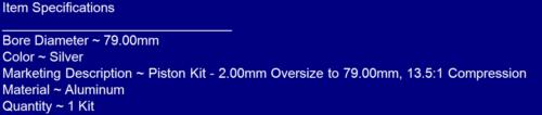2.00mm Oversize to 79.00mm 13.5:1 Compression~2009 Yamaha YZ250F Piston Kit