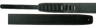 Gitarrengurt-Band-LLB10 Leder schwarz, Länge 107-147cm einstellbar, Breite 6,5cm