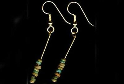BC1100 Colorful Ancient Egypt Faience Silica Ceramic Proto Glass Earrings 14ktGF 2