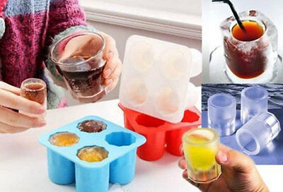 4-Ball Whiskey Ice Cube Maker Mold Sphere Mould Party Round Bar Ice Shot Glasses 10
