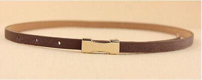 Ladies Slim Fashion Waist Belt Dress Access Thin Skinny PU Leather Belt Women 4