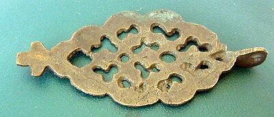 Amazing Post-Medieval Large Bronze Pendant With Cross  # 69B 2