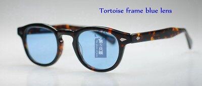 7107f6c0fe6 ... 49mm Retro Vintage Johnny Depp sunglasses men tortoise shell eyeglass Blue  lens 3