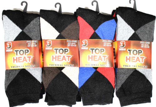 Mens Thermal Socks 3 Pairs Stripped Hiking Work Boots Thick Winter Warm 6-11