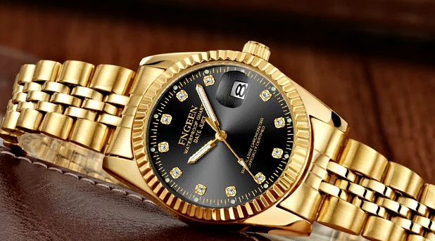 Men's Watch Relojes De Hombre Gold Stainless Steel Quartz Classic Small Dial 4