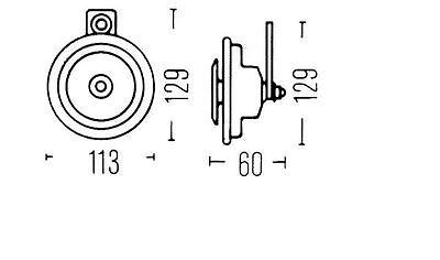 A BOSCH Universal Stahl Tiefton Signalhorn Hupe 335 Hz 110 dB 6 V