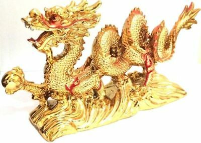 NEW GOLD Chinese Feng Shui Dragon Figurine Statue for Luck & Success #Large 2