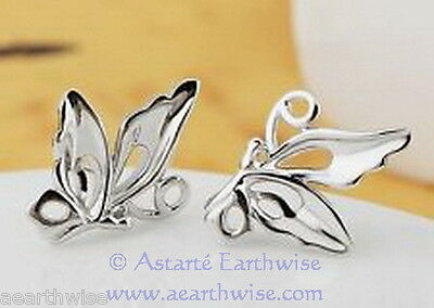 BUTTERFLY STUD EARRINGS 925 SILVER PLATED Wicca Witch Pagan Goth