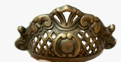 4 engraved shell shape pulls handles heavy solid brass old style drawer 10 cm B 11