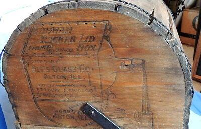 Primitive Antique Higham Rocker Lid Wood Box W/Antique Glass Bottle 5