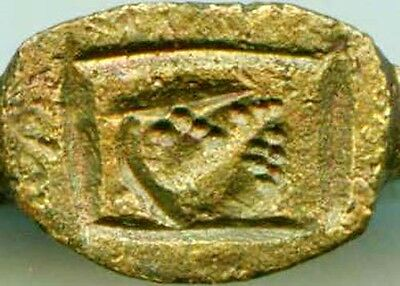 AD400 Roman Thrace Bulgaria Engraved Intaglio Bronze Ring Sz7 Grain Galley Ship