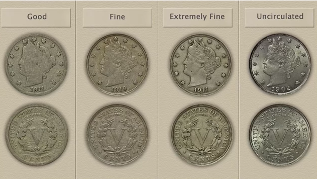 One Circulated  Liberty Head V Nickel    Assorted Dates  1883 to 1912   #LHNA 3