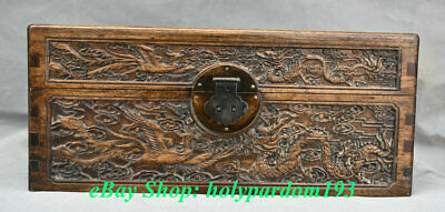 "12"" Old Chinese Huanghuali Wood Carving Palace Dragon Phoenix Jewel Case or Box 2"