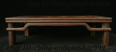"19"" Chinese Huali Wood Inlay Shell Flower Bird Table Tea-Things Teapoy End table 8"